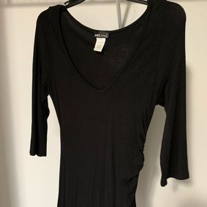 Wet Seal Small Ruched Long-Sleeve Black Dress